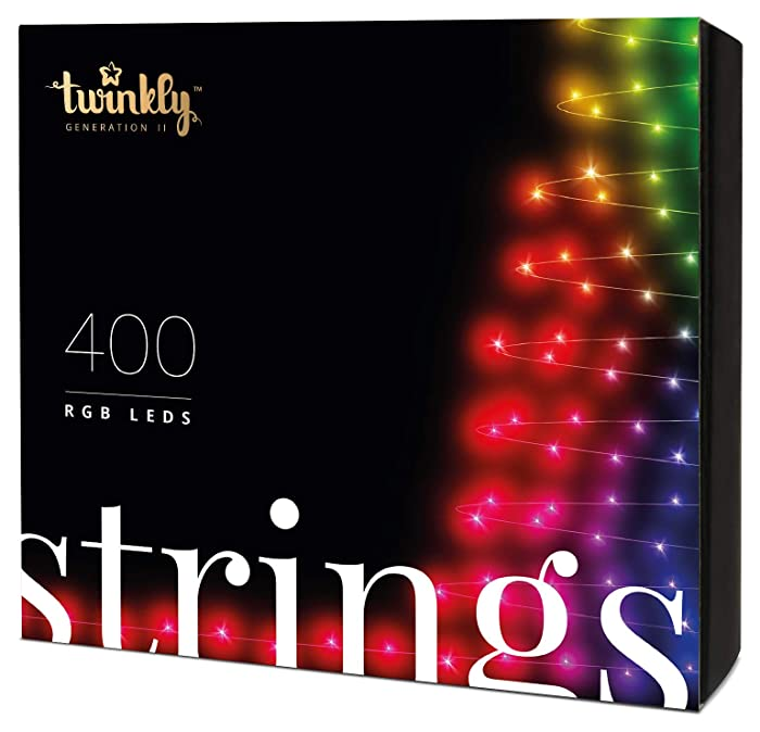 Twinkly Smart Decorations Custom LED String Lights – App Controlled Light Strings with 400 Multicolor RGB LED Lights – IoT Ready Customizable Lighting – Create or Download Light Displays
