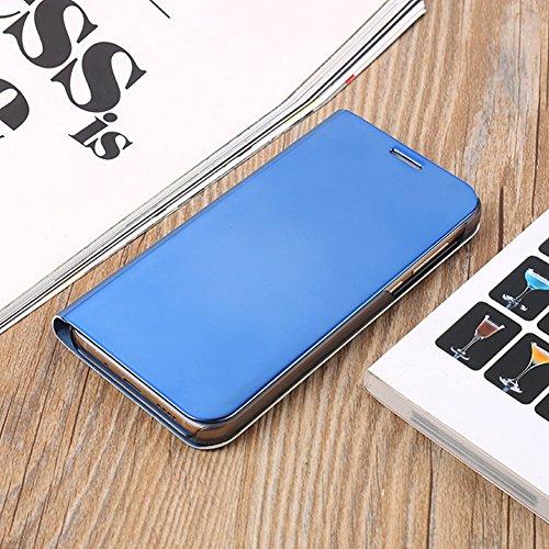 Funda Samsung Galaxy J5 Prime, Visión Clara Pie Smart Cover Soporte Mirror Protección Completa Rígida Borde ,Sunroyal Multifuncional Cubierta del espejo Permite ver Claramente la Clear Standing Flip C Azul
