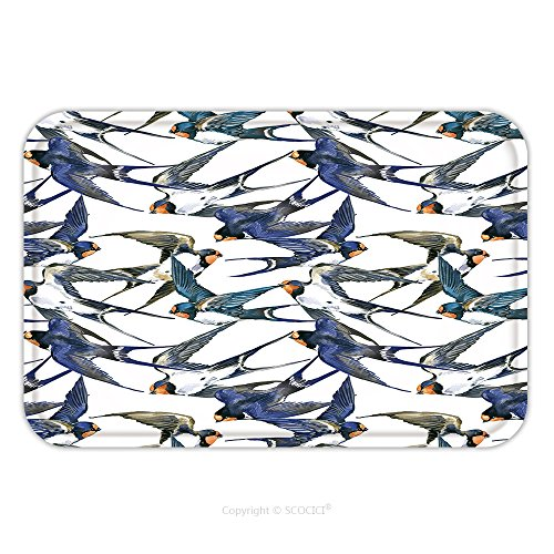 Swallow Mobile (Flannel Microfiber Non-slip Rubber Backing Soft Absorbent Doormat Mat Rug Carpet Swift Bird Seamless Pattern Swallow Watercolor Illustration 403765549 for Indoor/Outdoor/Bathroom/Kitchen/Workstations)