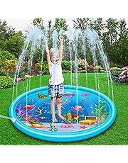 Queta Splash Pad, 170 cm sprinkleronderlegger zomer tuin waterspeelgoed zwembad oceaanleven splash speelmat voor outdoor / party / strand / kinderen