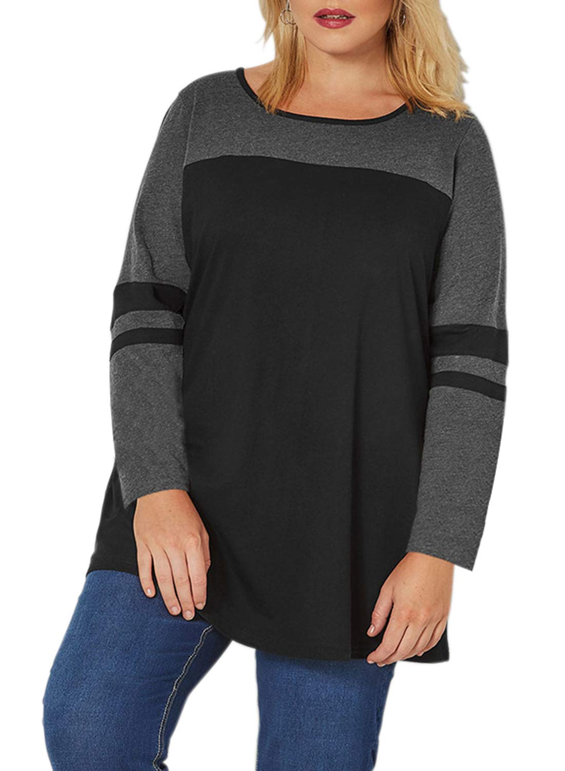 Itsmode Long Sleeve Juniors Striped T Shirts for Women Color Block Plus Size Cotton Tops and Blouses Maternity Tee Baseball Jersey Shirts Sport Active Sweater 3XL Black