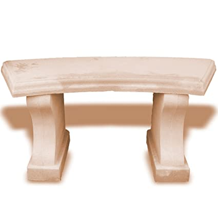 Terrific Amazon Com Buff Stone Bench Curved Seat Garden Outdoor Gmtry Best Dining Table And Chair Ideas Images Gmtryco