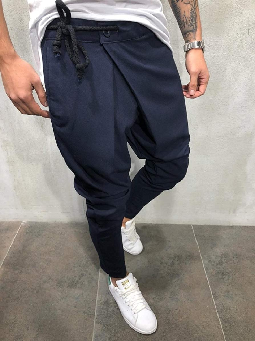 Comaba Men Relaxed-Fit Solid Pocket Relaxed-Fit Back Cotton Tenths Pants