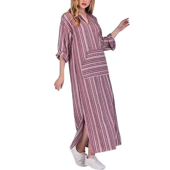 Vestido para Mujer,BBestseller Mujer Vestido Blusa de Solapa Casual para Mujer Vestido Largo de Manga Larga con Escote en O Raya Camiseta Tops Falda ...