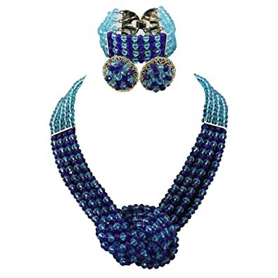 8980a8b7e6d9cc Amazon.com: Africanbeads 4 Layers Crystal Choker Necklace Nigerian Wedding African  Beads Jewelry Set Party Gift: Jewelry