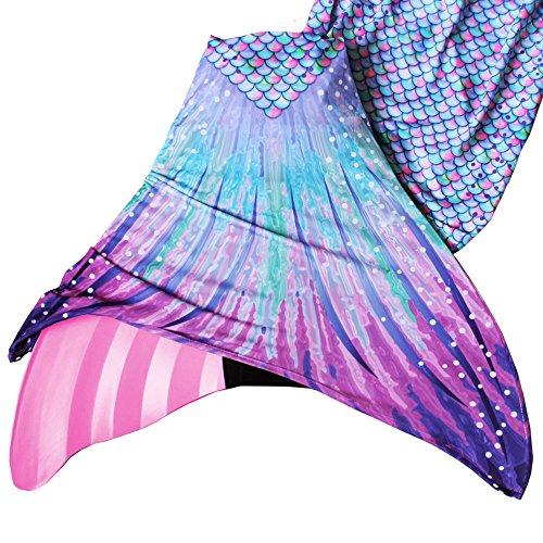 Sun Tail Mermaid Girls' Aurora Borealis Mermaid Monofin Swim Suit, Pink, Large 8/10 by Sun Tail Mermaid (Image #2)