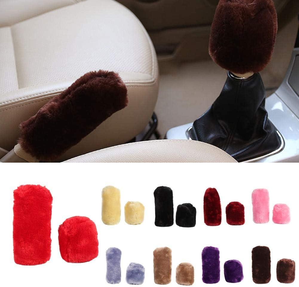 Suuonee car shifter plush Synthetic Wool Plush Cover Handbrake Gear Suit Winter Warm Set For Universal Car Black
