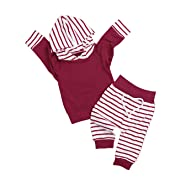 Baby Girl Clothes Long Sleeved Hoodie Sweatshirt and Striped Pants 2Pcs Outfit Sets(0-3months) Red