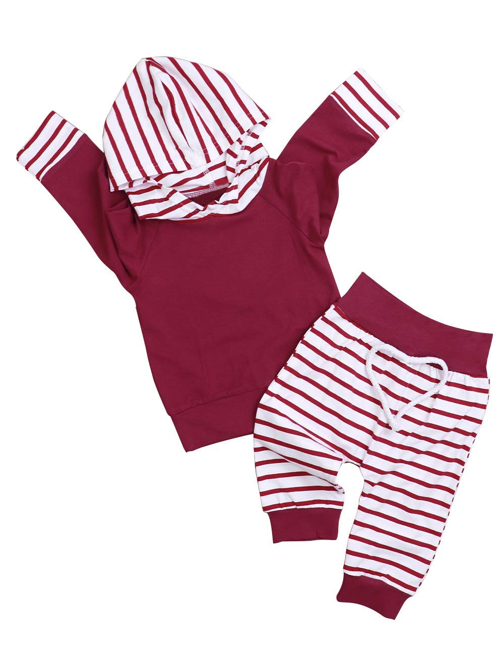 Baby Girl Clothes Long Sleeved Hoodie Sweatshirt and Striped Pants 2Pcs Outfit Sets(12-18months) Red