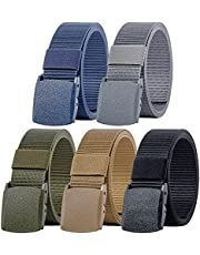 Ginwee 5 Packs Nylon Canvas Breathable Military Tactical Men Waist Belt With Plastic Buckle
