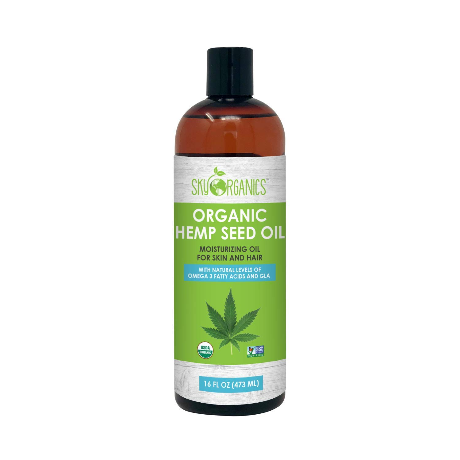 Organic Hemp Seed Oil by Sky Organics (Large 16oz) 100% Pure Cold-Pressed Hemp Oil –High in Omega 3-6-9 Fatty Acids- Not CBD oil- Sativa Oil- Food grade, Non-GMO, Cruelty Free- Great for dry skin