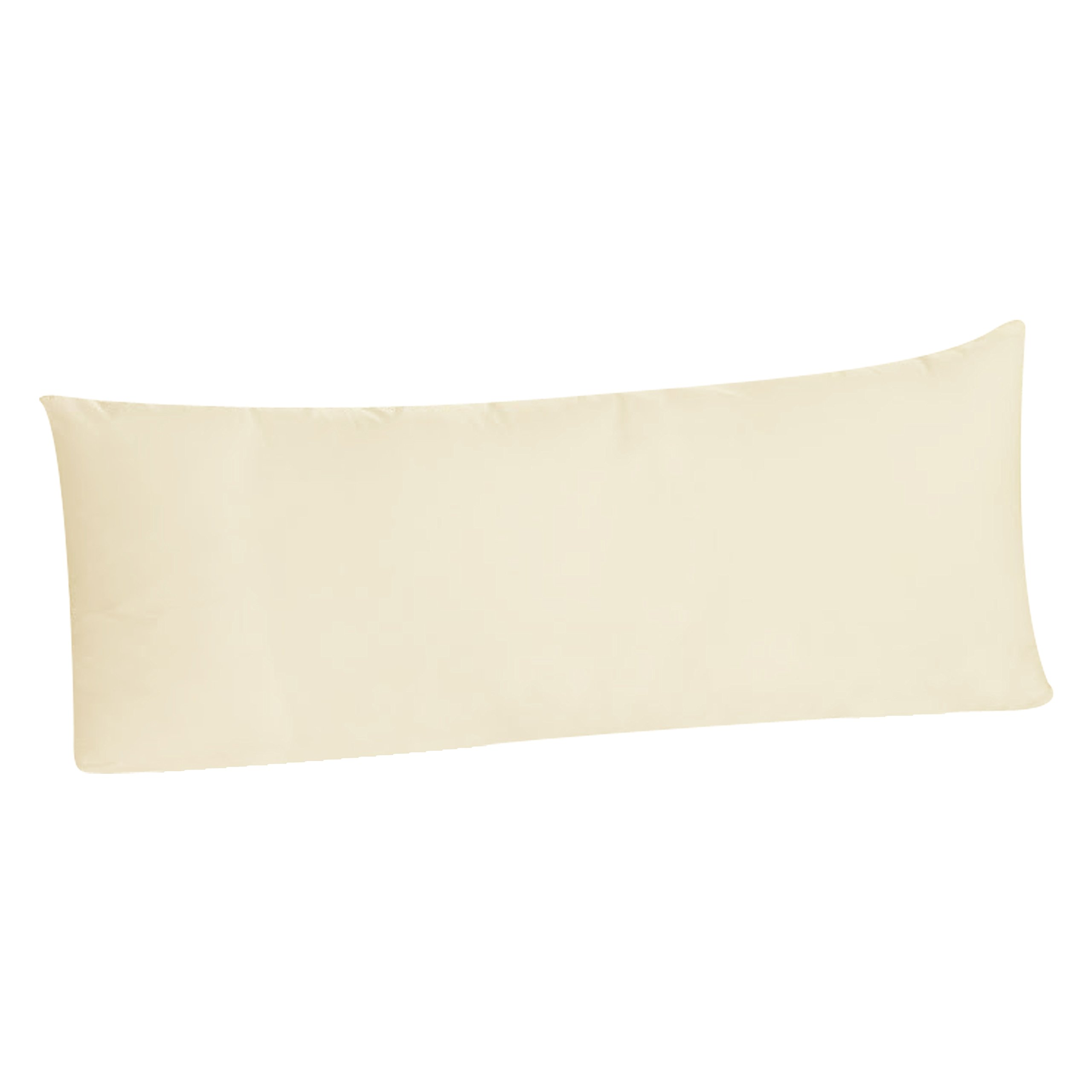 Luxury Egyptian Cotton 300 Thread Count Body Pillowcase - fits 20 x 54 Inch Body Pillow, Envelope Closure (Qty. 1, Ivory)