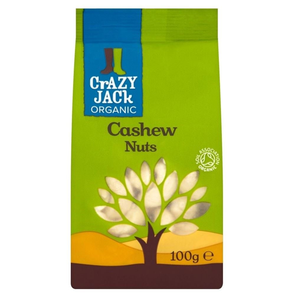Crazy Jack Organic Cashews (100g) - Pack of 6