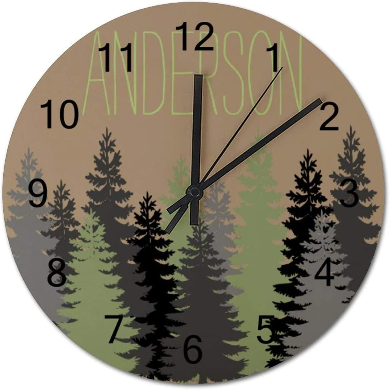 Black Forest Woods Pine Tree Custom Name Round Wall Clock, Rustic Silent Clocks Farmhouse Cabin Country Home Decor Made in USA
