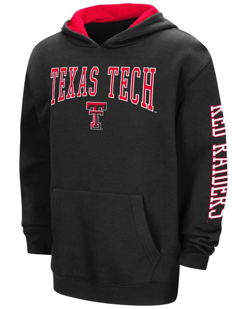 Texas Tech Red Raiders NCAA End Zone Pullover Hooded Youth Bambino SweatShirt Camicia - Black Colosseum