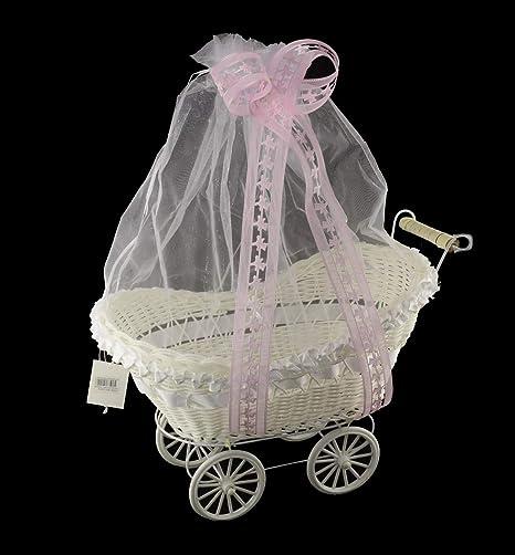 Cesta Blanca y Rosa para Cochecito de golosinas, decoración para Bautizo o niña.