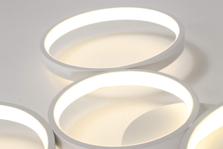 Rond Cercle Design Aluminium Silicone Eclairage de plafond pour Salon Chambre Cuisine Couloir /Étude LED Plafonnier Noir Lumi/ère blanche, 1 Anneau Moderne Cr/éatif Lampe de plafond D/éco