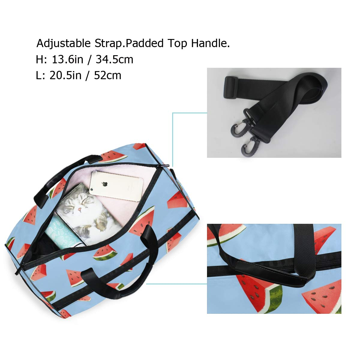 Vacation Travel Duffel Bag Watermelon Grainy Style Waterproof Lightweight Luggage bag for Sports Gym