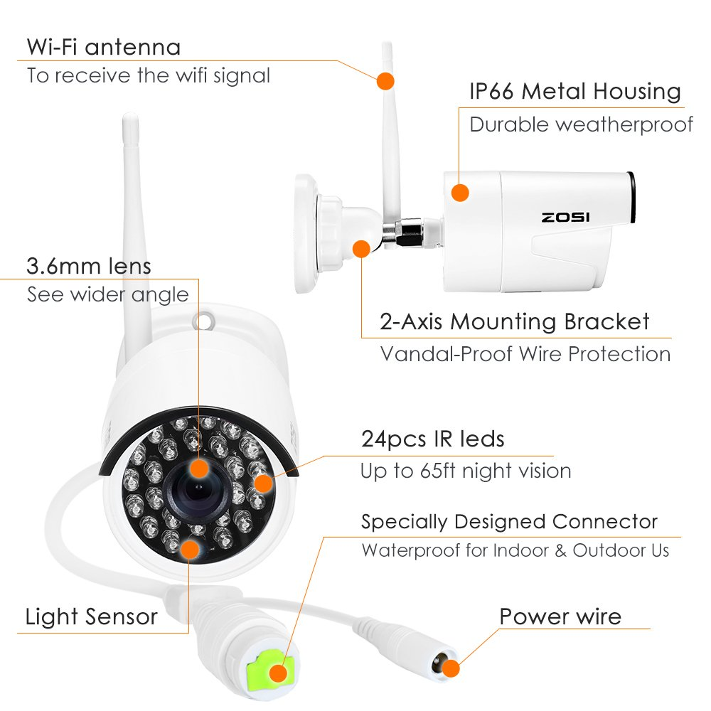 Night Vision Camera Wiring Diagram Zosi 1080p 8ch Hd Wireless Security System 8channel Nvr 2tb Hard Drive And 8 20mp Indoor Outdoor Bullet Ip Cameras 65ft