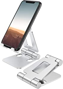 """Nulaxy A4 Cell Phone Stand, Fully Foldable, Adjustable Desktop Phone Holder Cradle Dock Compatible with Phone 11 Pro Xs Xs Max Xr X 8, iPad Mini, Nintendo Switch, Tablets (7-10""""), All Phones"""