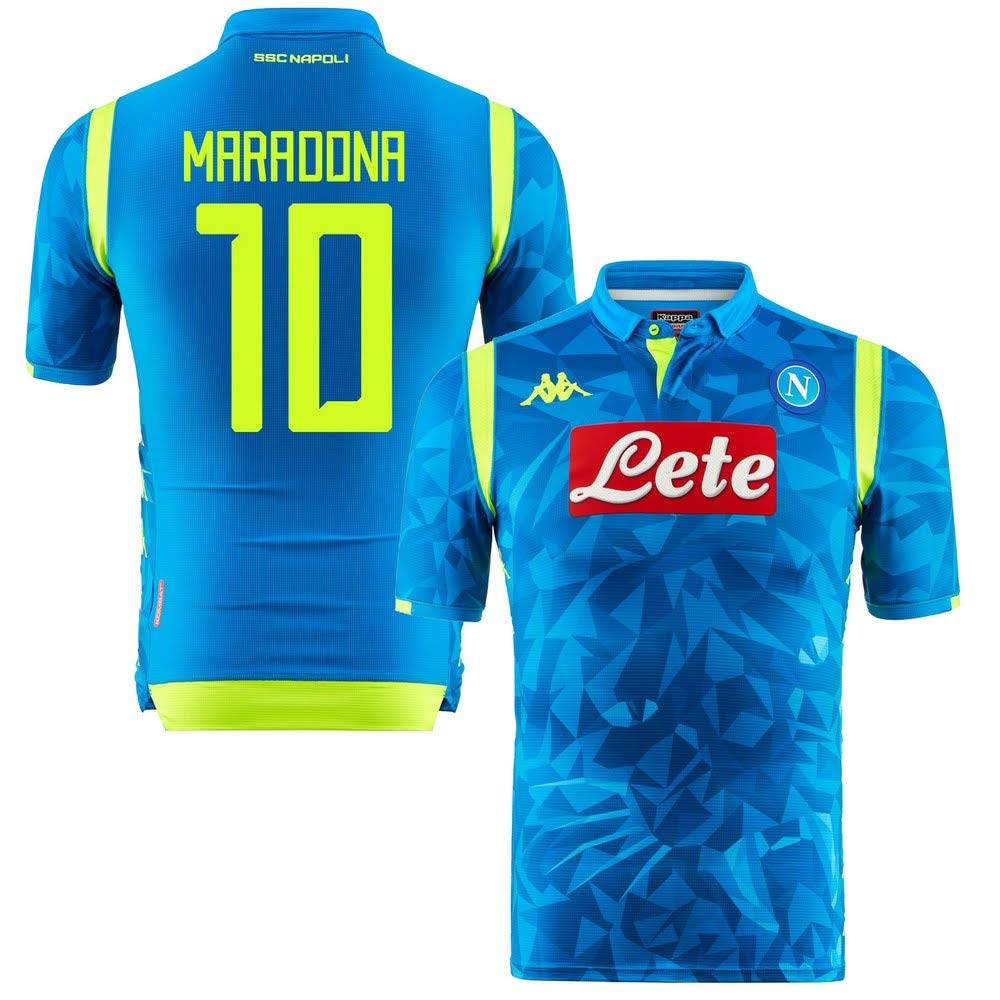Neapel Home Champions League Match Trikot 2018 2019 + Maradona 10 (Fan Style)