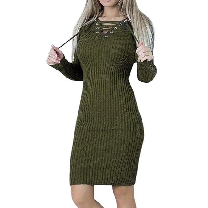 Damen Kleider FORH Frauen Mode Langarm Pullover Sweatshirt Kleid Sexy V-Ausschnitt  Bodycon Langes Pullikleid Elegantes Einfarbig Bandage Partykleider ... 27985f06e3