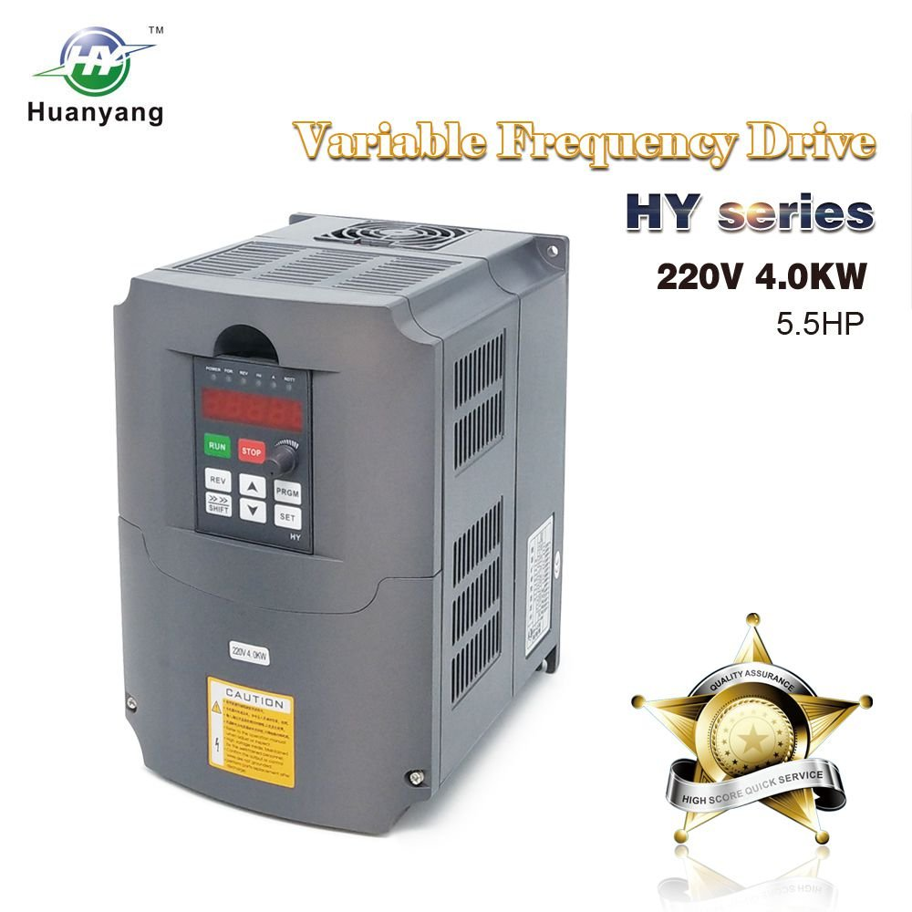 HY HUANYANG CNC VFD 220V 4.0KW 5.0HP Variable Frequency Drive Motor Inverter Converter for Spindle Motor Speed Control by HY HUANYANG