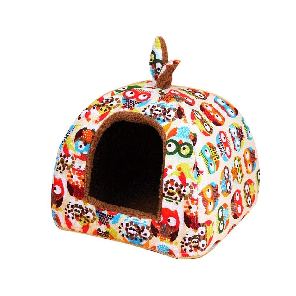 1 SmallGperw Round Nest Doghouse Cat Nest Kennel Teddy Yurt Cat House Closed Type Winter Keep Warm Pet Supplies Non Slip Cushion Pad (color   02, Size   Medium)