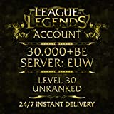 Video Games : League of Legends Account EUW Level 40 30.000+ BE Unranked Unverified Email