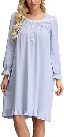 Zexxxy Victorian - Camisón de manga larga para mujer, cuello ...