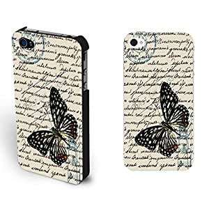 Iphone 4 4s Cases Customized Gifts Vintage Butterfly Print Hard Plastic Case (word blacks1161)