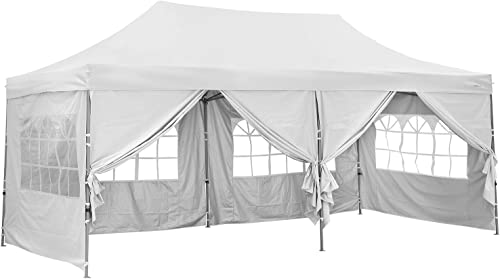 10×20 ft EZ Instant Pop up Canopy Tent,Party Tent Folding Heavy Duty Height Adjustable Sun Shelter