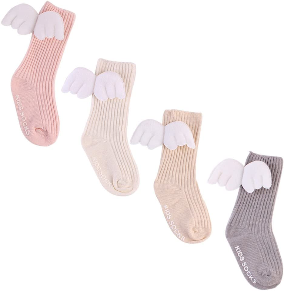 Cotton Cute Knitted Baby Kids Autumn Socks Angel Wings Knee High Leg Warmer