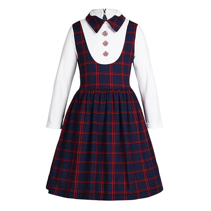 Freebily Vestido para Niña Colegio Uniforme Largo Manga con Camisa Blanco 5-12 años Azul