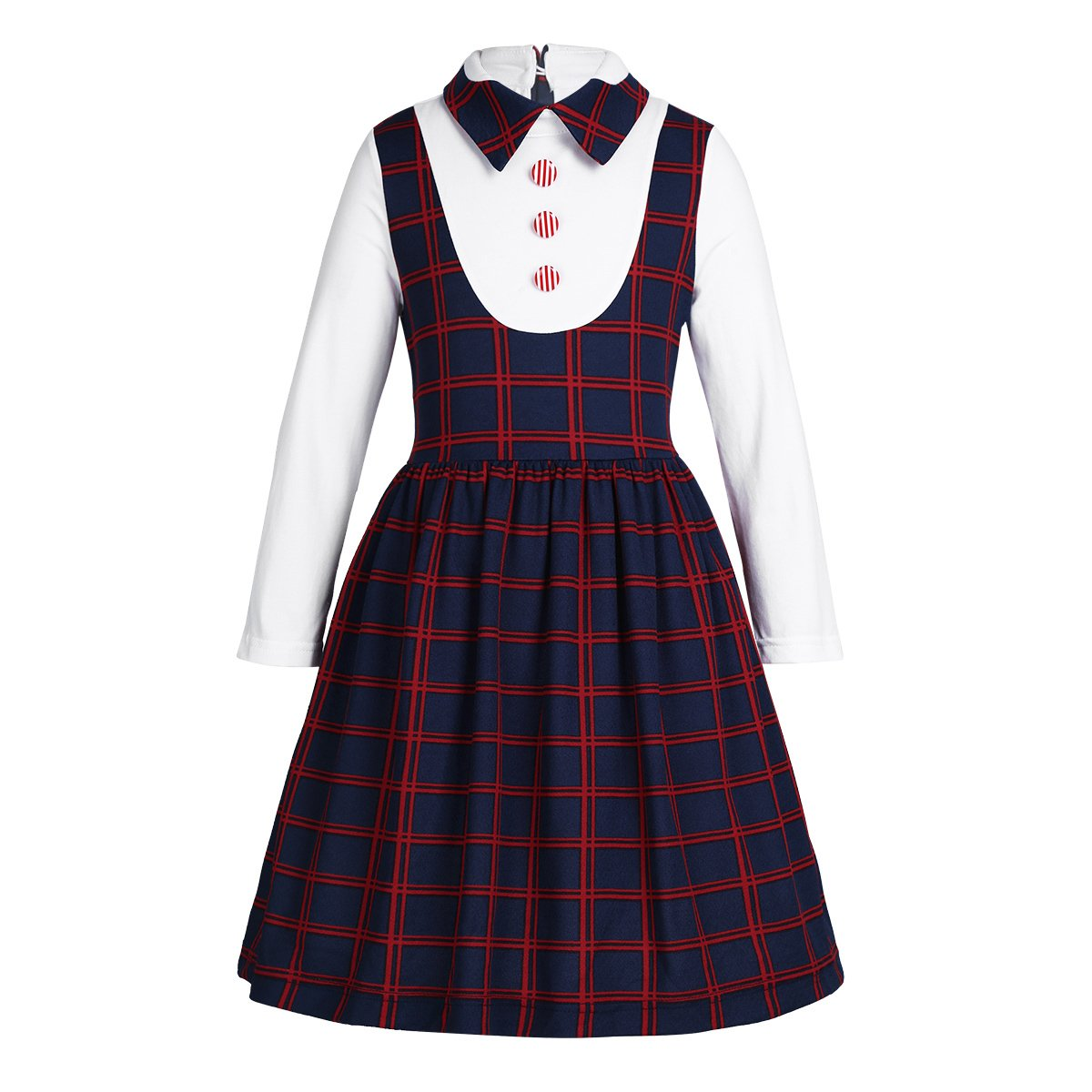 iEFiEL Kids Girls Dress School Uniform Long Sleeve Plaid Dress Birthday Party School Casual Navy Blue 6