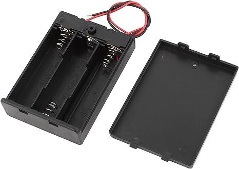Negro Con cables 3x1.5V batería AA Caja De Almacenamiento Box En/Interruptor De Apagado casquillo w: Amazon.es: Electrónica