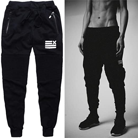 0d3ec651 Mens Joggers Pants, Casual Gym Workout Track Pants Elastic Slim Fit Tapered  Sweatpants with Zip