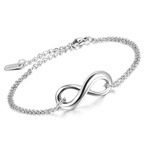 Cupimatch Edelstahl Damen Herren Armband, Retro Infinity Unendlichkeit  Lieben Zeichen Fußkettchen Panzerarmband Armreifen Armkette, 265b54d796