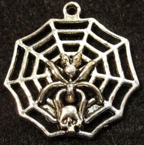 5 PC Tibetan Silver Halloween SPIDER Web Skull Charms - from Jewelry Making Supply Charms Wholesale by BP. Pendants Ear HW24
