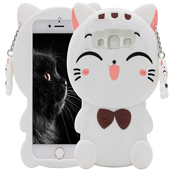 Galaxy J3 Case, Galaxy J3V Case, Skmy 3D Lucky Fortune Cat Kitty with Cute  Bow Tie Silicone Rubber Phone Case Cover for Samsung Galaxy J3 / J3V,