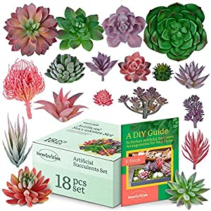 18 Pc Set of Artificial Succulent Unpotted in Red, Green, and Purple | Create Faux Floral Arrangements | Bulk Kit of Fake Tropical Plant Decor | Display as Decorative Vase or Basket Centerpieces 13