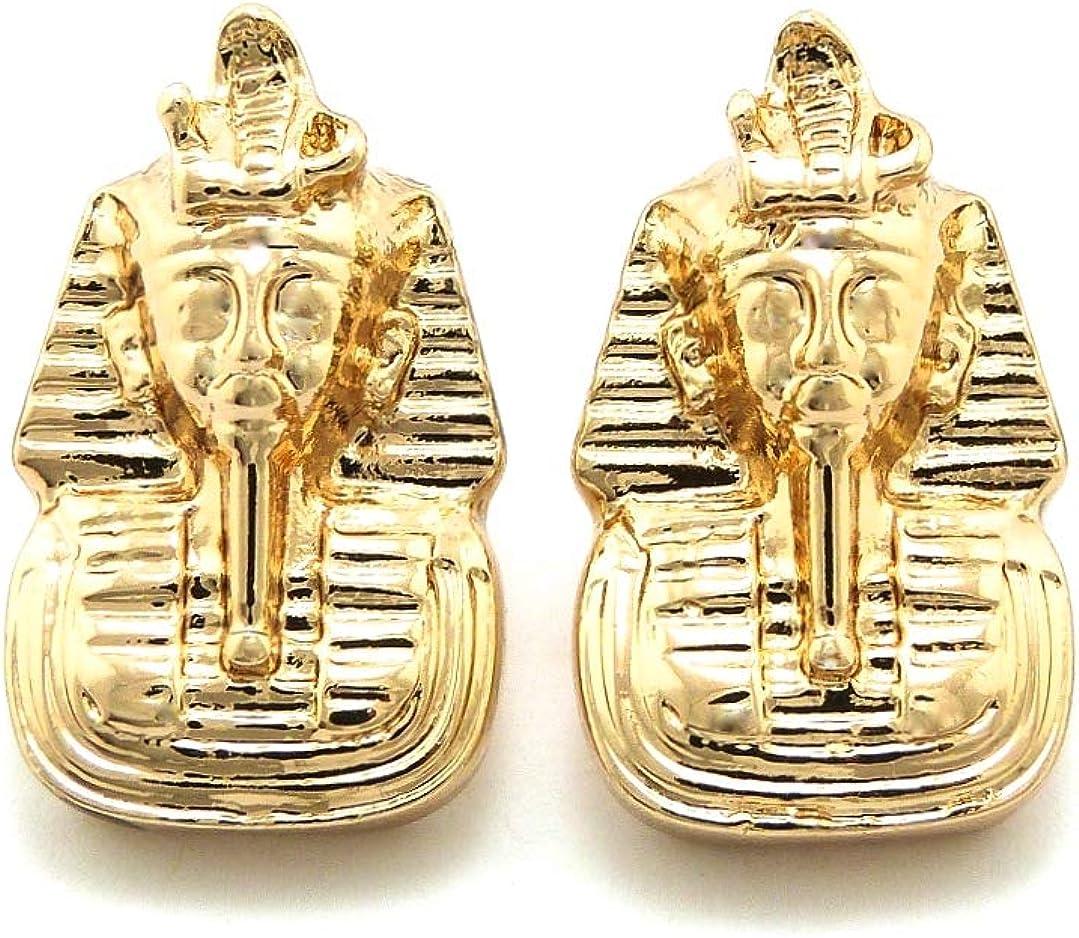 GWOOD Pharaoh Earrings Gold Color Post Style Egyptian King TUT