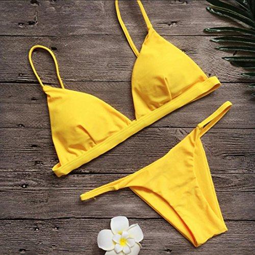 pezzi Giallo Size Le parte Bikini l'alto puro superiore M Asia slip due con bikini del Giallo verso Grigio la spingono Rosa triangolo Verde Bikini Elecenty Arancione e colore donne IIfqFv