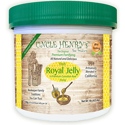 """#1 Best Tasting Royal Jelly, Premium Fresh Farmers Market Quality. Big 1lb Double-Sealed Artisan California Product Creamy Raw Honey. Original Green Lid """"You'll Love it"""" Henry's Guarantee by Uncle Henry's Bee Products"""