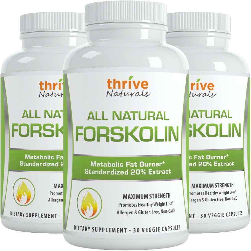 Thrive Naturals Forskolin Advanced Maximum Strength - Promotes Healthy Weight Loss - Metabolic Fat Burner (3) by Thrive Naturals