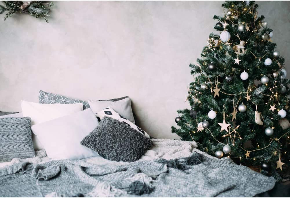 Haoyiyi 10x8ft Home Christmas New Year Eve Backdrops Xmas Tree Home Indoors Decor for Bedroom Living Room Party Photography Party Background for Shooting Banner Portrait Photo Booth Props