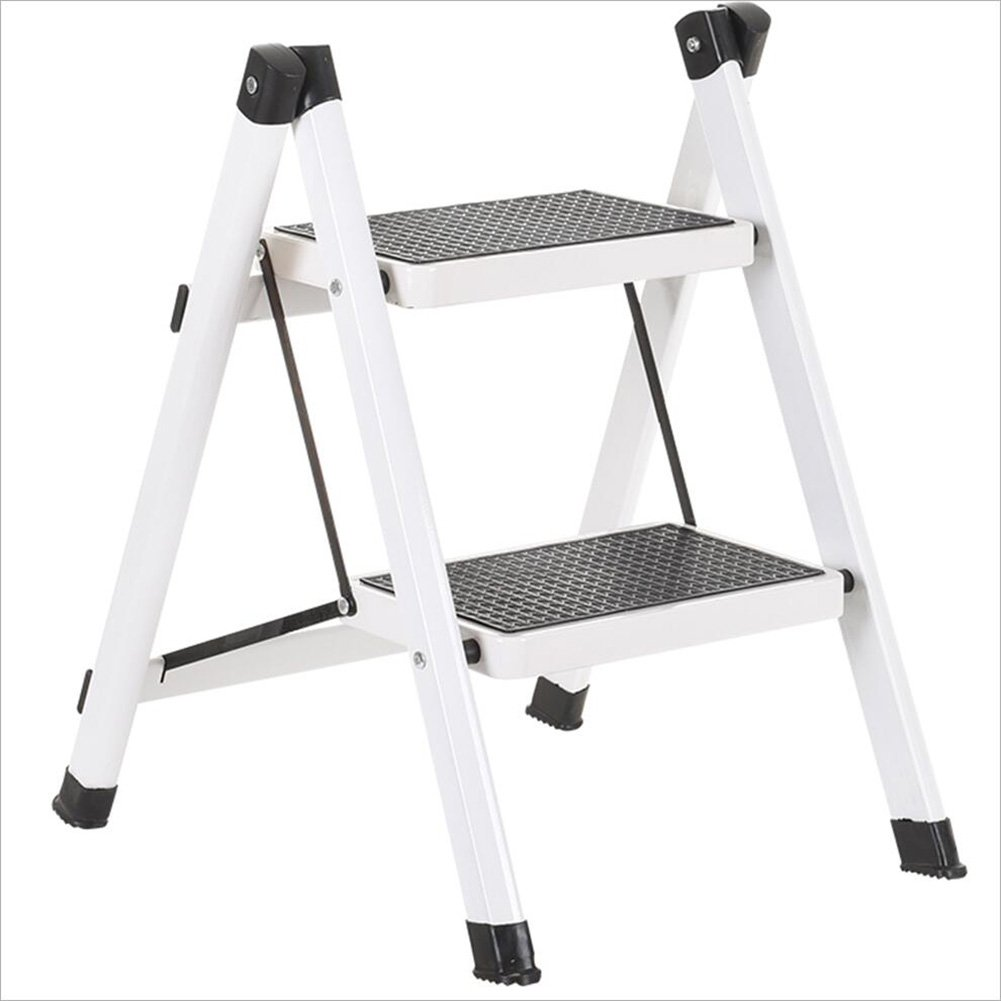 PENGFEI 折りたたみステップ 多機能 はしご としょうかん スーパーマーケット 昇順 ペダル 金属、 2ステップ 4色 脚立 踏み台ステップ チェア (色 : 白) B07DB8M14K 白 白