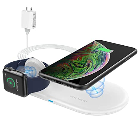 MoKo Wireless Charging Pad, 2 in 1 Portable 10W Qi Fast Wireless Charger Dock Station Mat Compatible Apple Watch Series 2/3/4/5, AirPods 2/Pro, iPhone ...