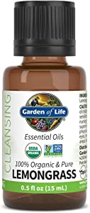 Garden of Life Essential Oil, Lemongrass 0.5 fl oz (15 mL), 100% USDA Organic & Pure, Clean, Undiluted & Non-GMO - for Diffuser, Aromatherapy, Meditation - Cleansing, Relaxing, Calming, Cleaning