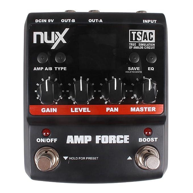 NUX Amp fuerza modelado amplificador simulador guitarra eléctrica efecto Pedal w/3-Band EQ: Amazon.es: Instrumentos musicales